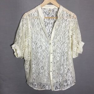 Guess lace puff sleeve blouse